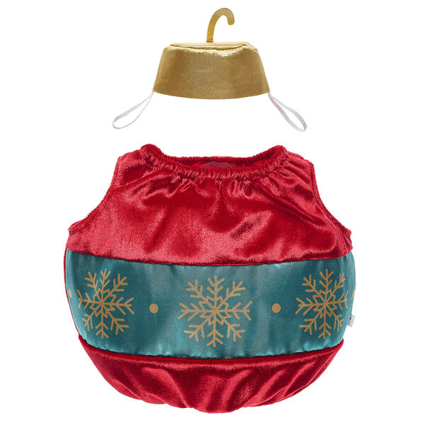 Your furry friend can get in the spirit with this adorable ornament costume! This plush red ornament outfit has openings for your furry friend's arms and legs and includes a gold top hat. A teddy bear in this cute costume makes a thoughtful gift this Christmas!
