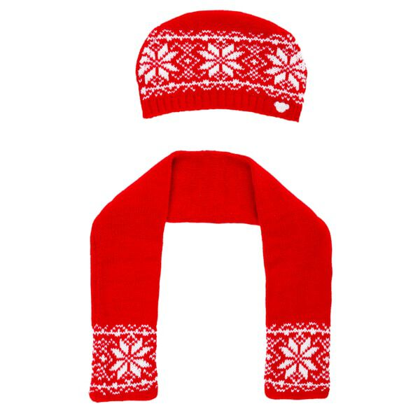 Red Fair Isle Hat & Scarf Set 2 pc., , hi-res