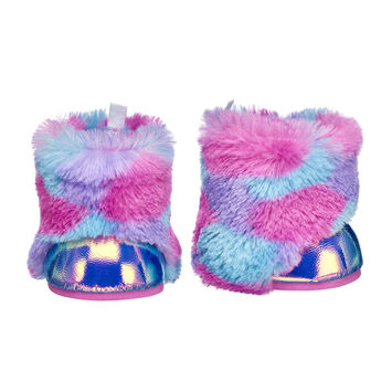 Step into style with this chic pair of colourful fur boots! These fuzzy boots are sure to keep your furry friend's paws warm with their bright fur and metallic finish.