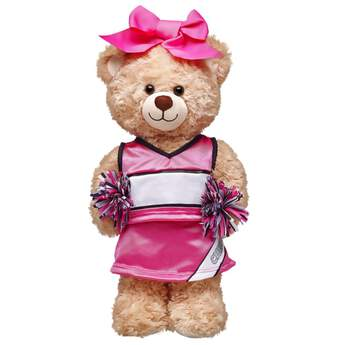 Let's go! Cheer for the home team with this cool Pink Cheerleading Uniform! The teddy bear size uniform includes a top, skirt, pom poms and a bow. Add it to your furry friend to make a great gift for a young cheerleader or sports fan.