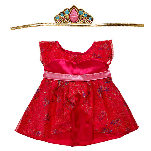 "Your furry friend will be ready to rule like a crown princess in this beautiful red dress outfit inspired by Disney's ""Elena of Avalor"" series."
