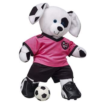 Plush teddy bear size football.