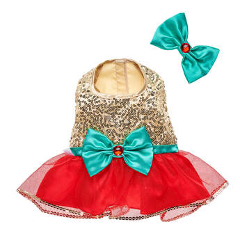 Gold Sequin Reindeer Dress & Bow Set 2 pc. - Build-A-Bear Workshop®