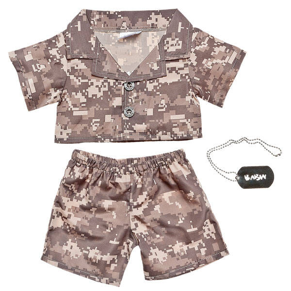 This khaki camoflauge outfit comes with a silver BABW ID tag on a chain. Don't let your friend get lost in the sandbox!