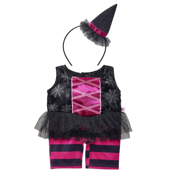 Dress your furry friend in this frightfully adorable costume for Halloween! This black and pink witch costume features a sleeveless top, tulle skirt and striped leggings. A headband with a witch's hat attached completes this classic Halloween look.