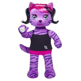 Teegan, the lead singer of the Honey Girls, loves to live big, loud and strong! This purple tiger is a fearless leader and a bold writer who believes in the power of being yourself. With soft purple fur with tiger stripes, Teegan  also has stylish pink and black hair and shimmery fuchsia paw pads. Add Teegan's signature outfit and accessories to create the perfect gift. Honey Girls outfits and accessories sold separately.