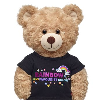 """Your furry friend will be all rainbows and smiles in this cheerful T-shirt! This black tee features an array of hearts, stars and smiley rainbows with a cute """"Rainbow Is My Favourite Colour"""" graphic on the front. It's the perfect shirt for your furry friend's bright personality!"""