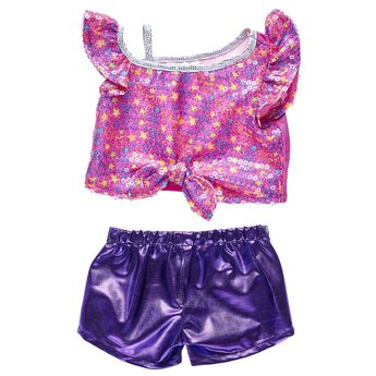 Hit the big time with this cute Honey Girls outfit! This sparkly outfit features a star-studded neon top and a shimmery pair of purple shorts. Personlize a furry friend to make the perfect gift. Shop online or visit a store near you!