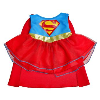 Transform your furry friend into Supergirl! The costume features the iconic S-Shield on a sleeveless blue top with a gold belt, ruffled red skirt and flowing red cape. Super-Villains don't stand a chance against her! TM & © DC Comics. (s16)