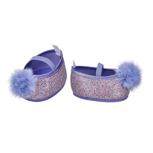 Purple Sparkle Pom Flats, , hi-res