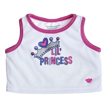 "Once upon a time, there was a lovely Lil' Princess Tank Top. Add this adorable top to your furry friend and start your own fairytale. This white tank top has a sparkly graphic with a crown and says ""Lil' Princess."" The top is trimmed in pink."
