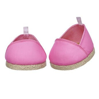 These pink canvas shoes with tan soles are the perfect choice of footwear for warm weather! These furry friend-sized pink espadrilles go great with any outfit.
