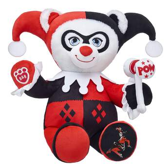 Known for her high agility and intelligence, Harley Quinn is dangerously fun as an online exclusive furry friend! This mischievous furry friend has Harley Quinn's signature harlequin outfit built into her fur and features her famous mallet on her left paw. Her left paw pad also features an exclusive Harley Quinn graphic! Add Harley Quinn Bear to your collection of furry friends and make your own mayhem! ™ & © DC Comics. (s13)