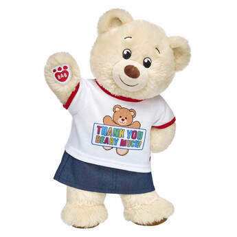 """""""Give a thank you gift that's cute and cuddly! This teddy bear gift set is a fun way to say """"""""thanks"""""""" to someone special. <p>Price includes:</p>  <ul>    <li>Lil' Pudding Cub</li>    <li>Thank You Beary Much T-Shirt</li>    <li>Sparkly Denim Skirt</li> </ul>"""""""