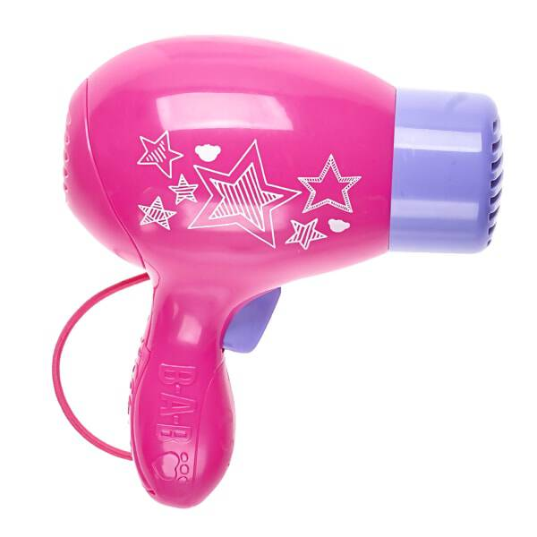 Take your furry friend to the beauty salon with this fun toy hair dryer! This pink and purple hair dryer has a starry design on the side and is the perfect size for playing dress-up with your furry friend.