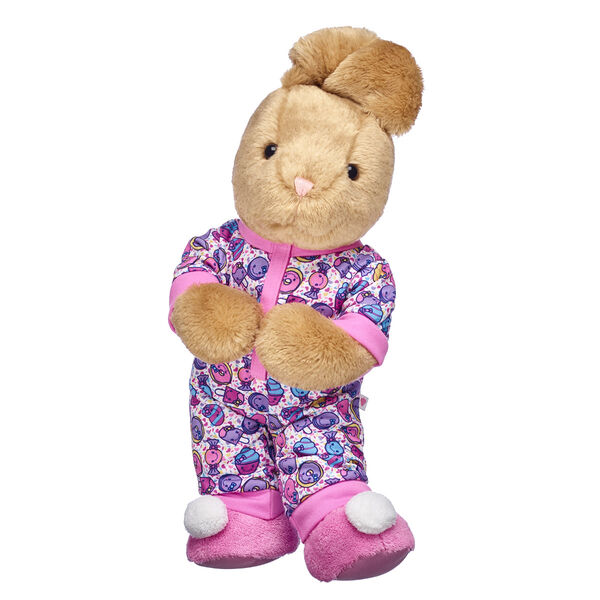 bunny stuffed animal valentines day gift set with candy pjs