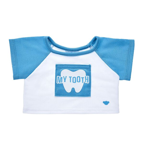 "The tooth fairy is sure to pay a visit when you dress your furry friend in this adorable tee! This blue and white T-shirt features a fun ""My Tooth"" graphic on the front. Give a perfect gift to the little one losing teeth in your life!"