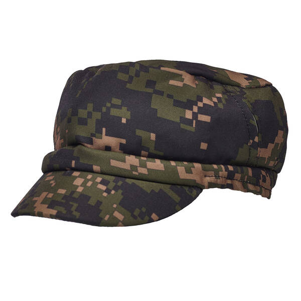 Teddy bear size messenger hat has a green digital camo print.