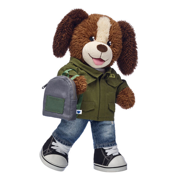 Go back to school in style with Playful Pup! This cute puppy stuffed animal is dressed to impress this school year. This dog stuffed animal gift set includes a stylish back-to-school outfit. The school year will be anything but RUFF with this cuddly companion by your side! <p>Price includes:</p>  <ul>    <li>Playful Pup</li>    <li>Olive Army Jacket</li>    <li>White T-Shirt</li>    <li>Distressed Denim Jeans</li>    <li>Black Canvas High-Tops</li>    <li>Grey Backpack</li> </ul>