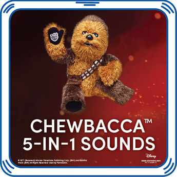 Give any furry friend that amazing animal sound only a Wookiee can make. The Chewbacca sound is perfect for any Star Wars fan. © & ™ Lucasfilm Ltd.