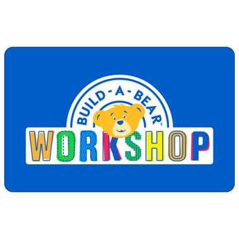 Give the gift of FUN! With a Build-A-Bear Workshop® gift card, it's easier than ever to give the gift of a personalized furry friend. Choose the amount you would like loaded onto this plastic blue Build-A-Bear gift card and send bear hugs to someone special!