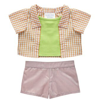 This stylish Blue & Green Easter outfit features a 2-fer top and classic pair of khaki shorts perfect for springtime fun! Build-A-Bear Workshop offers hundreds of unique stuffed animal clothing & accessory options you won't find anywhere else. Outfit a furry friend online to make the perfect gift!