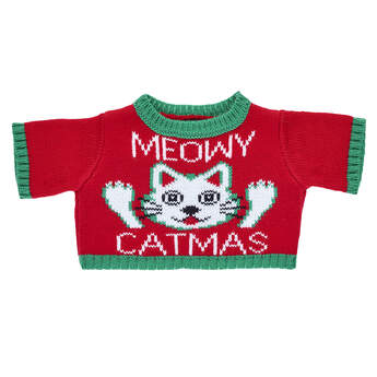 Meowy Catmas! A furry friend dressed in this adorable knit sweater makes a PURRfect gift for cat lovers this Christmas!