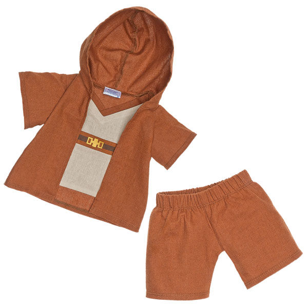 Teddy bear size Jedi Knight Star Wars costume comes with a hooded brown robe and brown pants. © & ™ Lucasfilm Ltd.