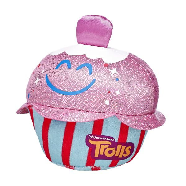 Is it cupcake time? Give your furry friend the gift of happy sweetness with this fun cupcake as seen in the movie DreamWorks Trolls. The smiling cupcake has a glittery top and striped bottom that features the DreamWorks Trolls logo. DreamWorks Trolls © 2016 DreamWorks Animation LLC. All Rights Reserved.