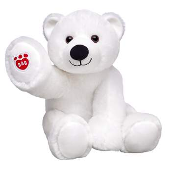 Polar bears don't get any cuddlier than Snowcap! This winter weather furry friend has hugs to spare. The white polar bear has a big smile and a red B-A-B logo on its paw.