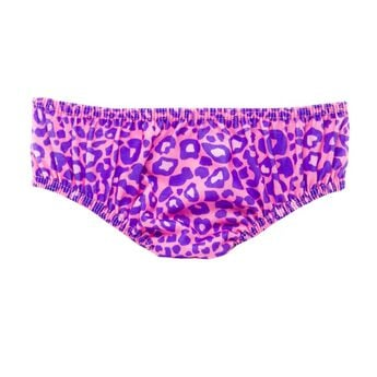 Add a fun pair of leopard print panties beneath your furry friend's dress. The teddy bear sized pink underwear has a purple leopard skin pattern and completes any outfit.