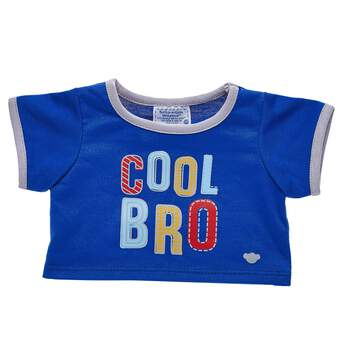 """Let everyone know who the cool sibling is with this adorable furry friend-sized T-shirt! This blue and grey ringer tee has a fun """"Cool Bro"""" graphic on the front of it. Outfit any furry friend in this T-shirt to make a perfect gift!"""
