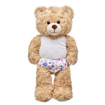 These white panties for stuffed animals have pastel flowers all over them. Outfit a furry friend online to make the perfect gift. Make your own your own stuffed animal online with our Bear Builder or visit a store near you.