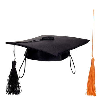 Online Exclusive Black Graduation Cap with Orange Tassel, , hi-res