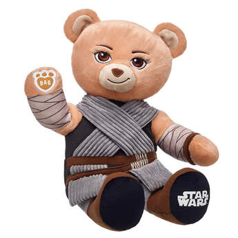 Rey Bear blasts into the galaxy! Brave and fiercely loyal, Rey is an extremely skilled scavenger and comes with her signature movie look built into fur.