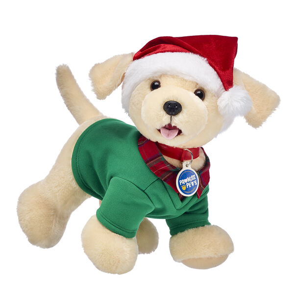 Get ready for Christmas cuddles with this doggone cute gift set! This Promise Pets™ Yellow Lab stuffed animal gift set includes a loveable Yellow Lab puppy plush, green sweater and a festively fun Santa hat. Fetch the PAWfect Christmas gift!