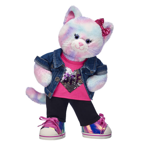 Pastel Swirl Kitty is ready to be your BFF this school year! This cuddly stuffed animal gift set makes a PURRfect surprise for their first day back. This colourful kitty is dressed and ready to ace the year ahead! <p>Price includes:</p>  <ul>    <li>Pastel Swirl Kitty</li>    <li>BFF Sequin Heart Tank Top</li>    <li>Black Leggings</li>    <li>Denim Jacket</li>    <li>Metallic Low Top Shoes</li>    <li>Multicolour Sparkle Bow Set 4 pc.</li> </ul>