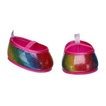 Your furry friend will be walking on air with this fun pair of super sparkly rainbow flats! With a hot pink trim and strap, these rainbow coloured shoes have lots of glitter for a little extra flair! This cute pair of flats goes great with any outfit.