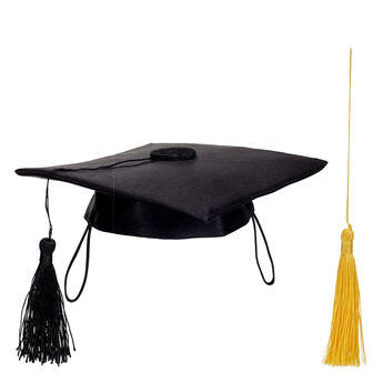 Online Exclusive Black Graduation Cap with Yellow Tassel, , hi-res