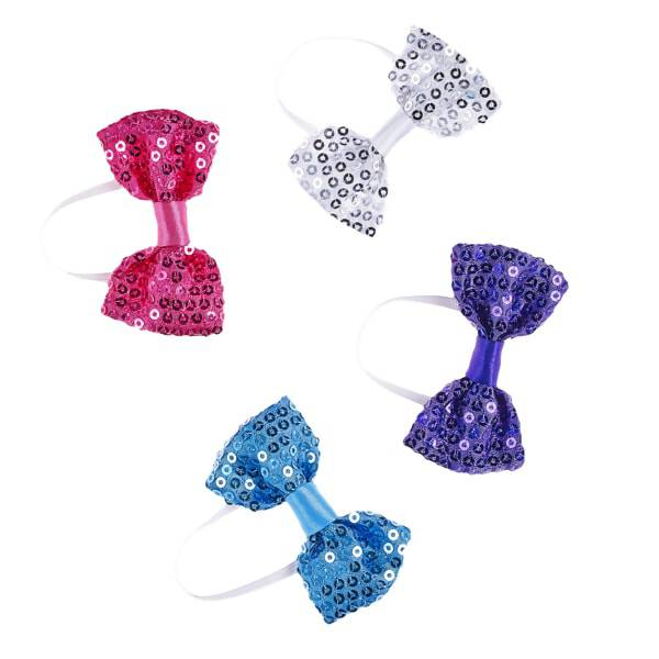 A little flair goes a long way! Give your furry friend all the sparkly hair accessories they need with this four piece set of sequin bows. The set includes a fuchsia, blue, purple and silver bow to help complete any of your furry friends' looks.