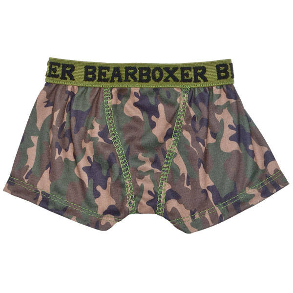 Add this pair of teddy bear size camo knit BEARboxers to your stuffed animal's outfit. They are sized pawfectly for your furry friend.