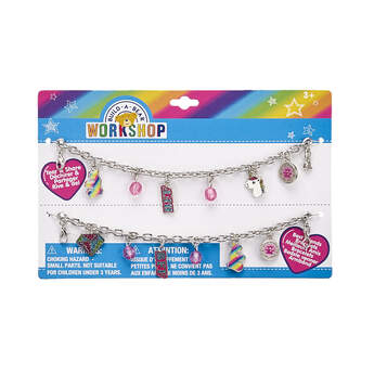 Friends forever…stick together! True friendship is as special as a bright rainbow in the sky. This two-piece friendship bracelet set has everything you and your BFF need! You can mix and match a variety of colourful charms with your friend.