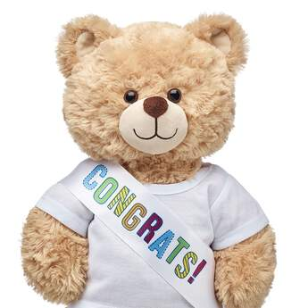 "No matter the occasion, there's always a reason to celeBEARate with this ""Congrats!"" sash for teddy bears. Outfit a furry friend online to make the perfect gift. Make your own your own stuffed animal online with our Bear Builder or visit a store near you."