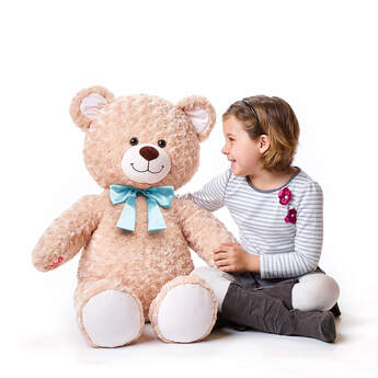Online Exclusive Giant Happy Hugs Teddy with Blue Bow, , hi-res