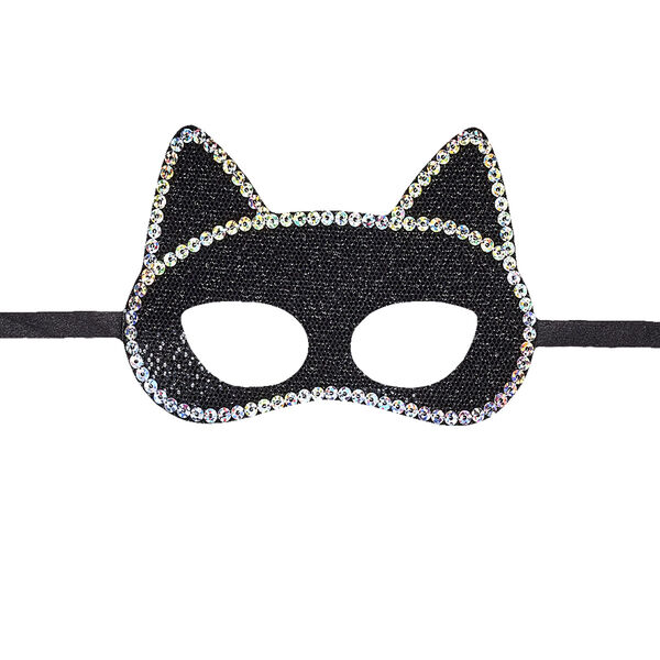 If a black cat crosses your path this Halloween, it might just be your furry friend wearing this cute mask! This sparkly black eye mask for stuffed animals looks like cat ears and has a silver sequin trim.