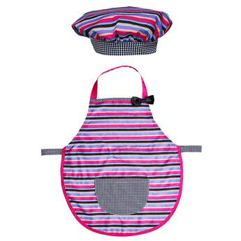 Bake up some fun in this Kid Baking Apron & Hat Set! This child-sized apron and hat set features colourful stripes with a fun pattern. Don't forget to buy a matching set for your furry friend, too!