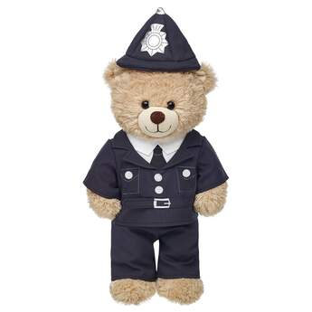 Turn your furry friend into a bobbie with this teddy bear sized Police Officer Uniform. It includes a black jacket with buttons and belt, black pants and matching black police hat.