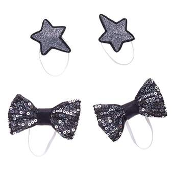 Be brighter together with this sparkly set of hair accessories! This shiny set features two silver star accessories and two black bows with silver sequins on them. Whether you're styling the Honey Girls or any other favourite furry friend, this four-piece set is the perfect choice for some extra glam!