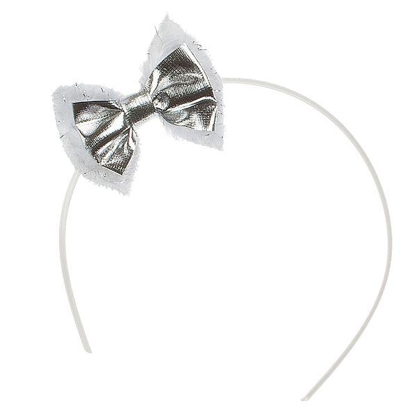 White Faux Fur Bow Headband, , hi-res