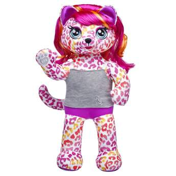 Keely is a makeup artist with the Honey Girls! This colorful leopard is from Los Angeles and loves nothing more than using her creativity to celebrate her life and the people in it. Keely has white fur with pink, orange and yellow leopard spots. She also has bright fuchsia and orange hair with sparkly purple ears and paw pads! Add this colorful leopard's signature outfit and accessories to create the perfect gift. Honey Girls outfits and accessories sold separately.